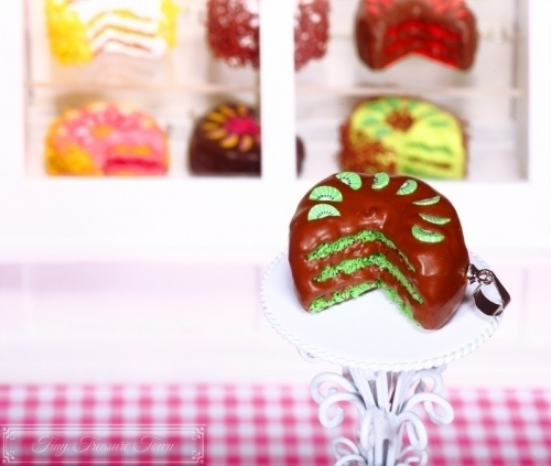 Fimo Torten Kette Kiwi Schokolade-31