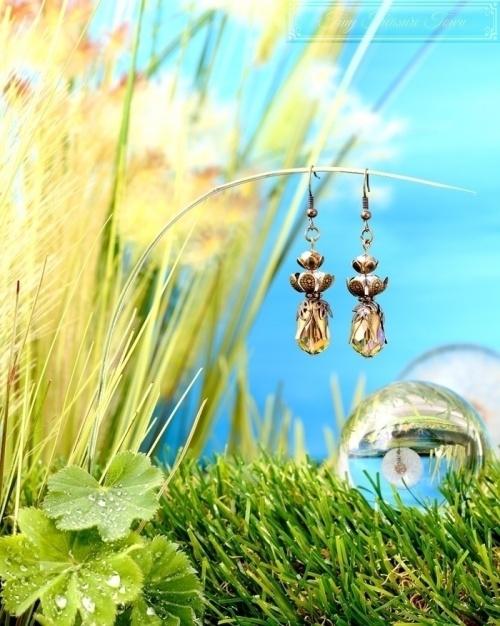 Feen Tautropfen Ohrringe Bronze Grau Transparent-31