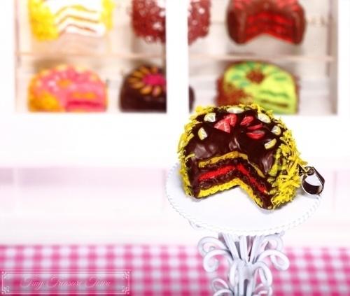 Fimo Torten Kette Erdbeere Zitrone Zartbitterschokolade-31