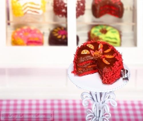 Fimo Torten Kette Erdbeere Orange Schokolade-31