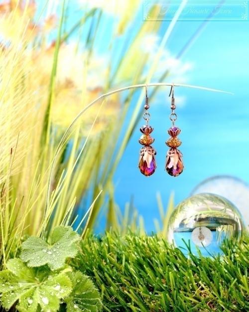 Feen Tautropfen Ohrringe Kupfer Lila Honiggelb-31