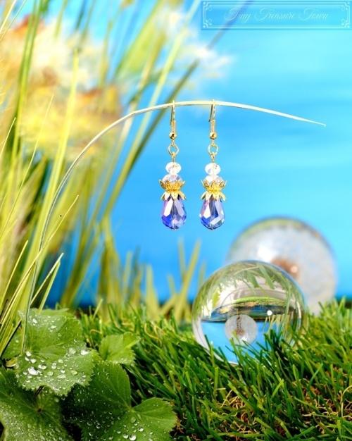 Feen Tautropfen Ohrringe Gold Blau Transparent-31