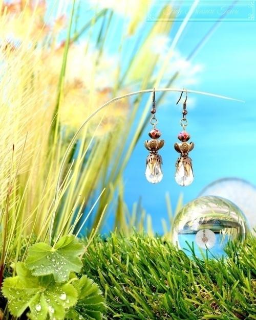 Feen Tautropfen Ohrringe Bronze Transparent Rot-31