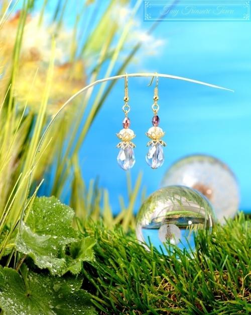 Feen Tautropfen Ohrringe Gold Hellblau Transparent-31
