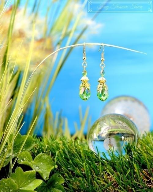 Feen Tautropfen Ohrringe Gold Grün Transparent-31