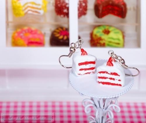 Fimo Torten Ohrringe Erdbeere Sahnecreme-31