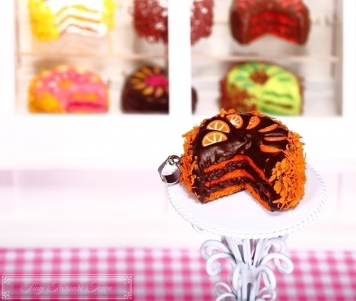 Fimo Torten Kette Orange Zartbitterschokolade-31