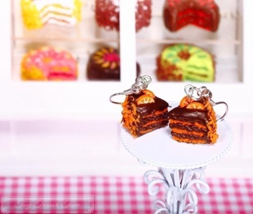 Fimo Torten Ohrringe Orange Zartbitterschokolade-31