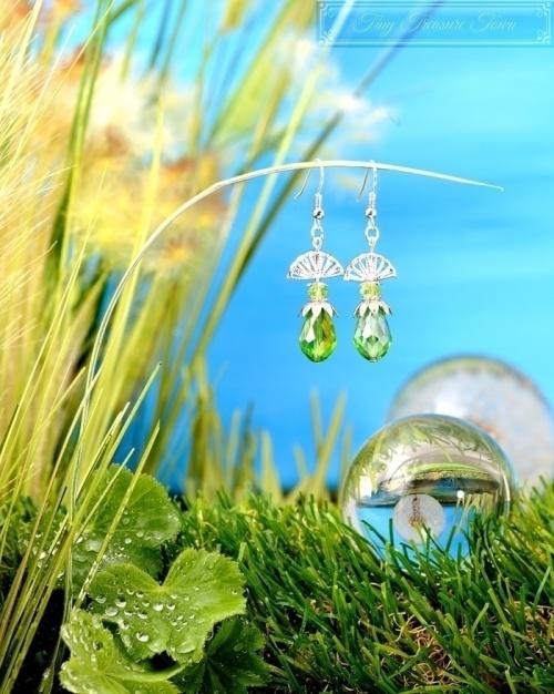 Feen Tautropfen Ohrringe Silber Grün-31