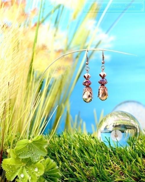 Feen Tautropfen Ohrringe Kupfer Grau Lila Transparent-31