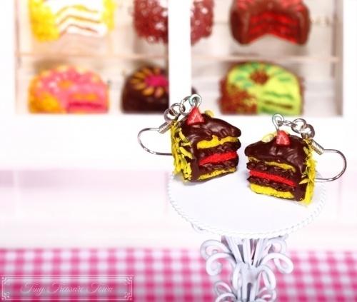 Fimo Torten Ohrringe Erdbeere Zitrone Schokolade-31