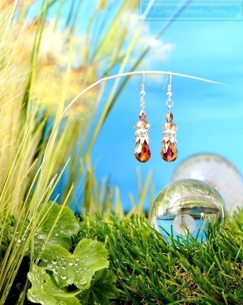 Feen Tautropfen Ohrringe Silber Lila Braun Honiggelb Transparent-31