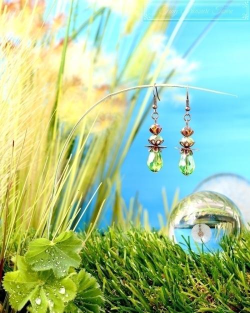 Feen Tautropfen Ohrringe Kupfer Grün-31
