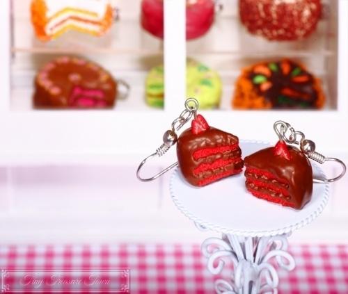 Fimo Torten Ohrringe Erdbeere Schokolade-31