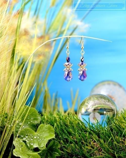Feen Tautropfen Ohrringe Gold Messing Blau-31