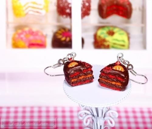 Fimo Torten Ohrringe Erdbeere Orange Zartbitterschokolade-31