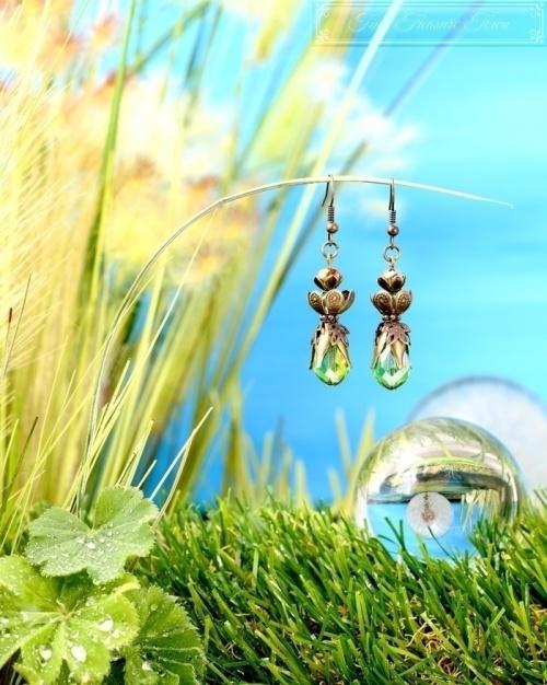 Feen Tautropfen Ohrringe Bronze Grün-31