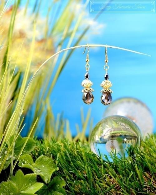 Feen Tautropfen Ohrringe Gold Messing Anthrazit Transparent-31