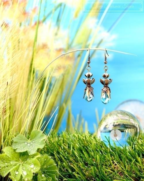 Feen Tautropfen Ohrringe Bronze Türkis-31