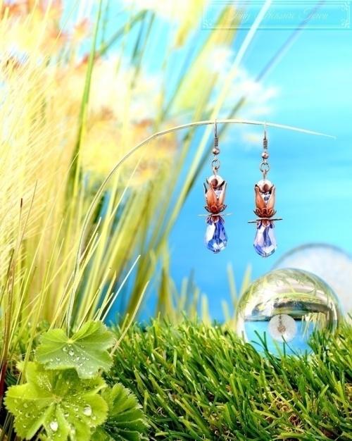 Feen Tautropfen Ohrringe Kupfer Blau Transparent-31