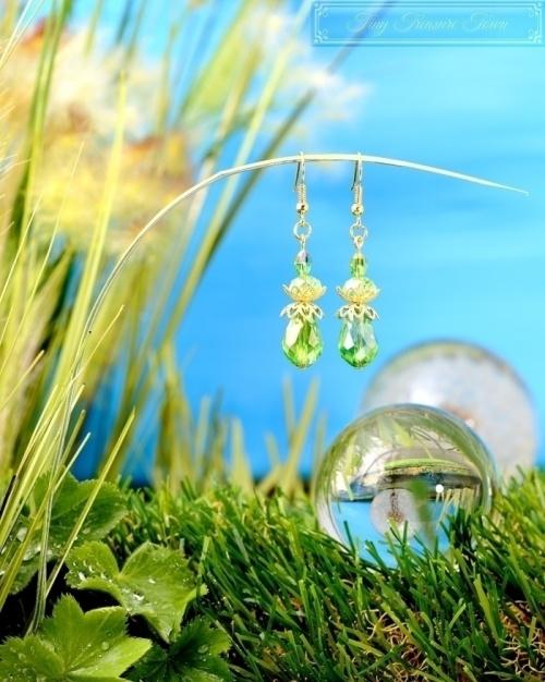 Feen Tautropfen Ohrringe Gold Messing Grün Transparent-31