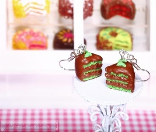 Fimo Torten Ohrringe - Kiwi Schokolade