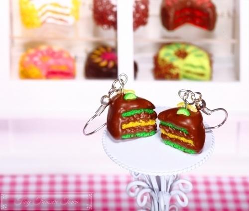Fimo Torten Ohrringe - Limette Zitrone Schokolade