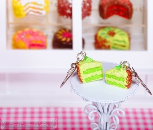 Fimo Torten Ohrringe - Limette Schokolade