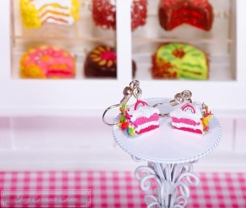 Fimo Torten Ohrringe - Pitahaya Regenbogenstreusel