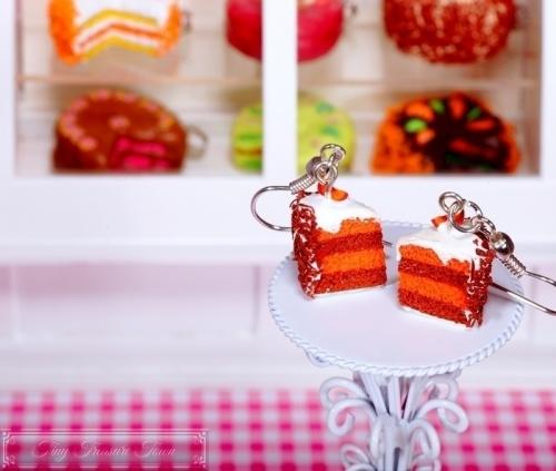 Fimo Torten Ohrringe - Pfirsich Schoko Sahnecreme