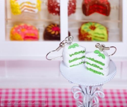Fimo Torten Ohrringe - Kiwi Sahnecreme