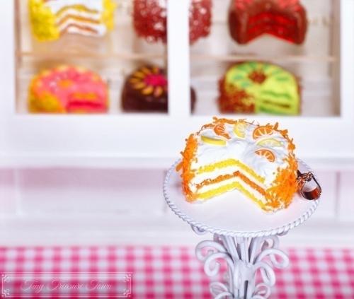 Fimo Torten Kette - Orange Zitrone Sahnecreme