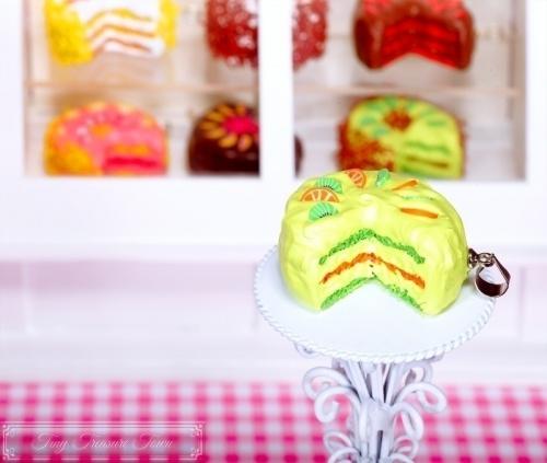Fimo Torten Kette - Kiwi Orange