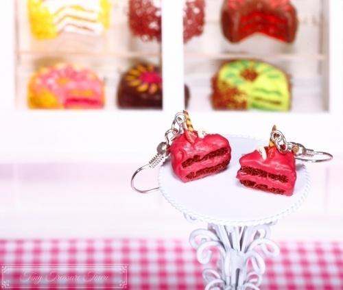 Fimo Torten Ohrringe - Erdbeere Banane Waffelröllchen