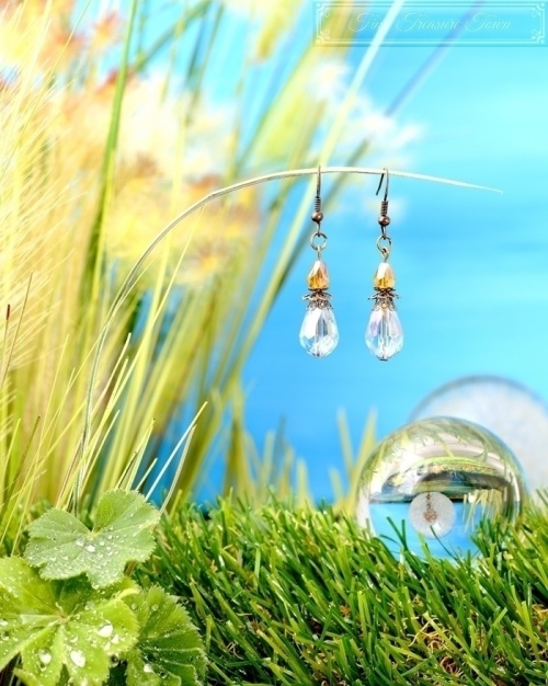 Feen Tautropfen Ohrringe - Bronze Hellblau Honiggelb