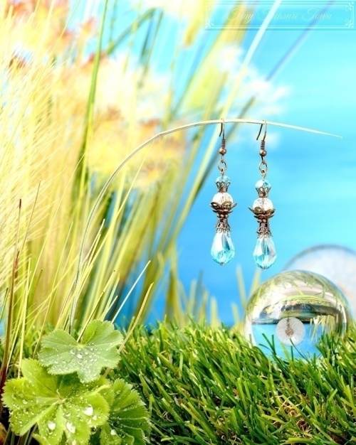 Feen Tautropfen Ohrringe - Bronze Türkis Transparent