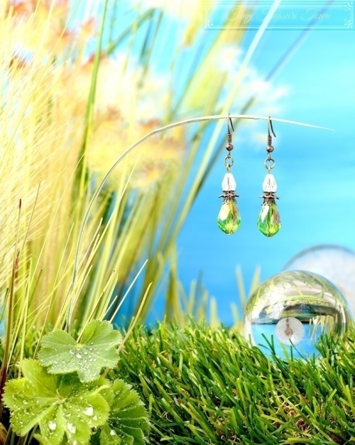 Feen Tautropfen Ohrringe - Bronze Transparent Grün