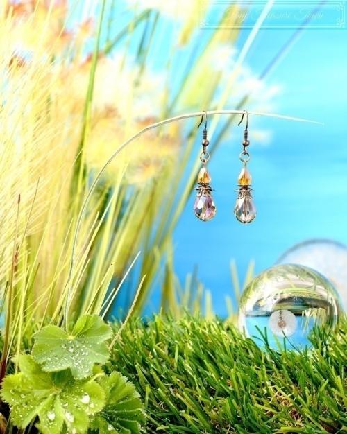 Feen Tautropfen Ohrringe - Bronze Grau Honiggelb