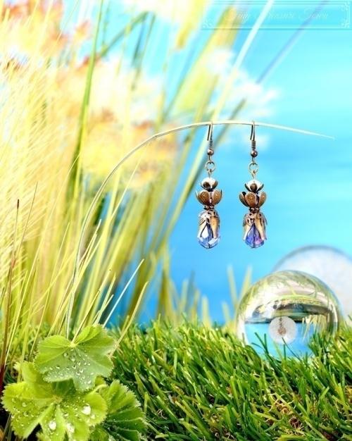 Feen Tautropfen Ohrringe - Bronze Blau Transparent