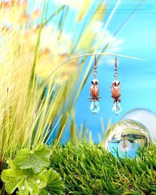Feen Tautropfen Ohrringe - Kupfer Türkis Transparent