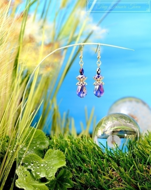 Feen Tautropfen Ohrringe - Gold Messing Blau