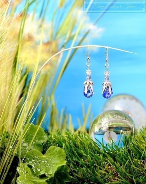 Feen Tautropfen Ohrringe - Silber Platin Blau Hellblau Transparent