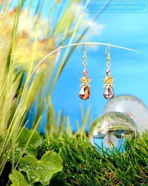Feen Tautropfen Ohrringe - Gold Messing Honiggelb Lila