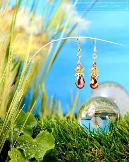 Feen Tautropfen Ohrringe - Gold Messing Lila Honiggelb