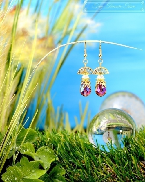 Feen Tautropfen Ohrringe - Gold Dunkellila Transparent