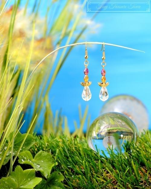 Feen Tautropfen Ohrringe - Gold Honiggelb Lila Transparent
