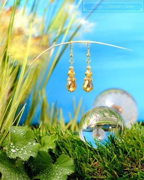 Feen Tautropfen Ohrringe - Gold Honiggelb