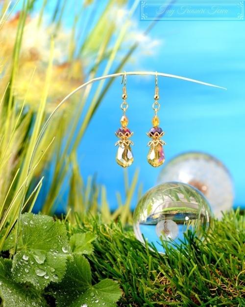 Feen Tautropfen Ohrringe - Gold Messing Honiggelb Dunkellila