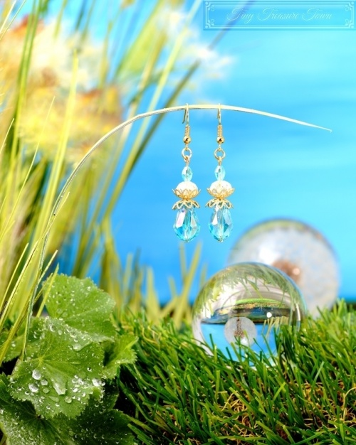 Feen Tautropfen Ohrringe - Gold Türkis Transparent