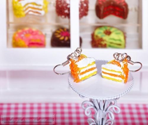 Fimo Torten Ohrringe - Orange Zitrone Sahnecreme